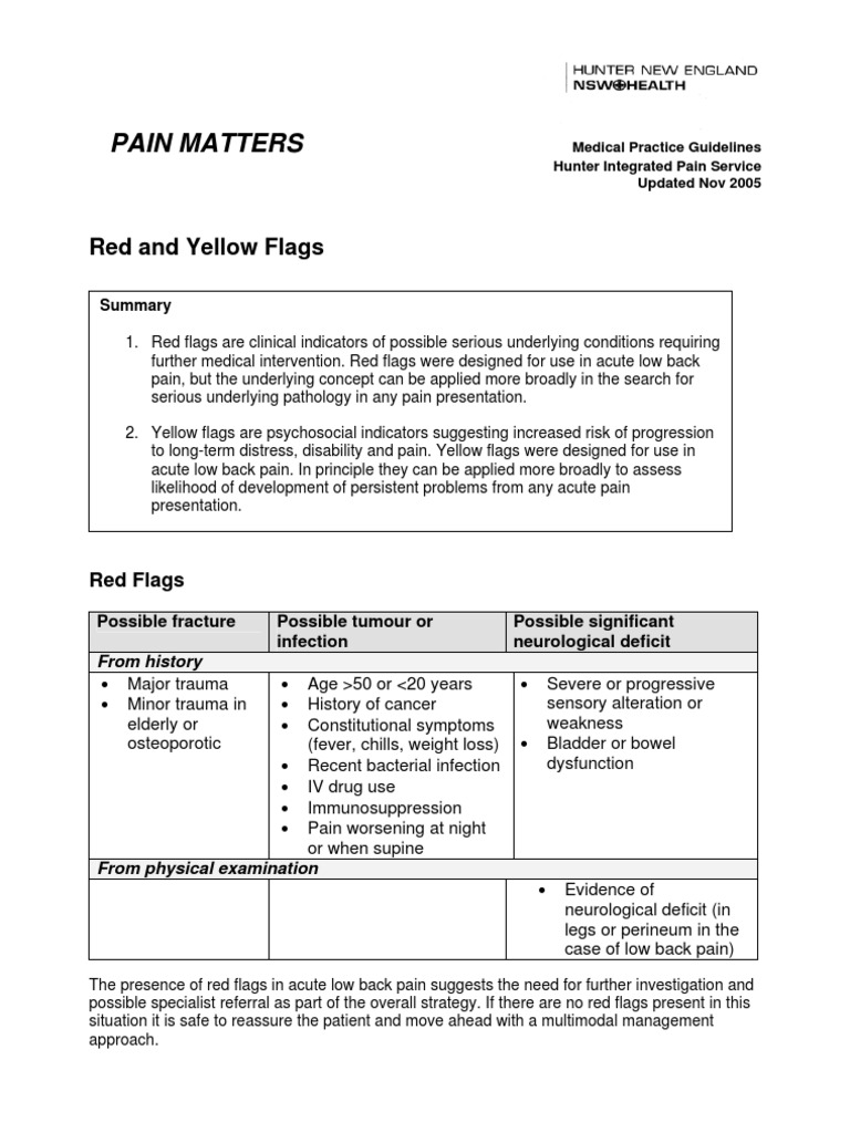 Guideline Flags   Low Back Pain   Pain