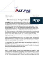 ALT_HR100305 Announces Closing of First Tranche of Financing