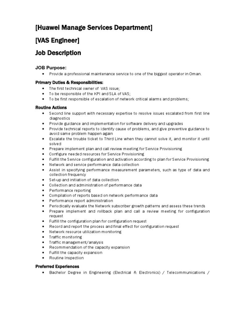 Job+Description+for+VAS+Engineer | Ericsson | Provisioning