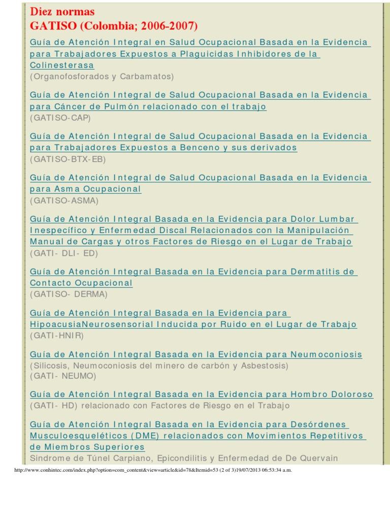 GATISO 10 Normas Guías de Atención Integral en Salud Ocupacional ...