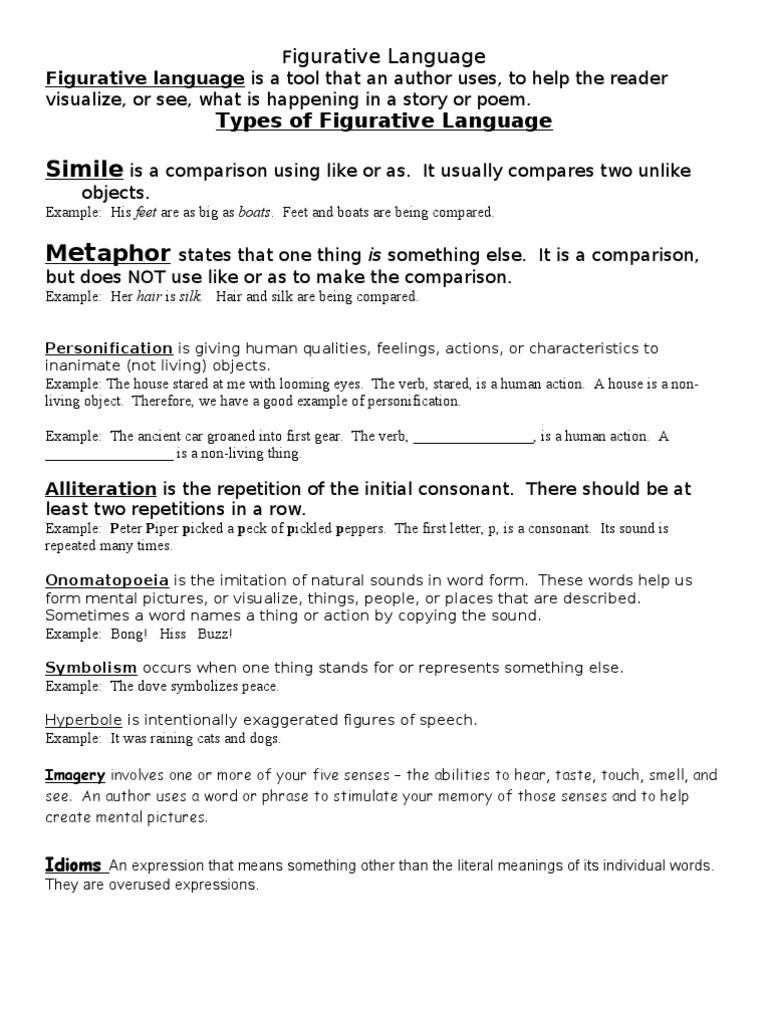 Figuative Language Packet Honors 20112012 Idiom Anthropomorphism