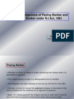 Duties and Obligations of Paying Bankers and Collecting Bankers