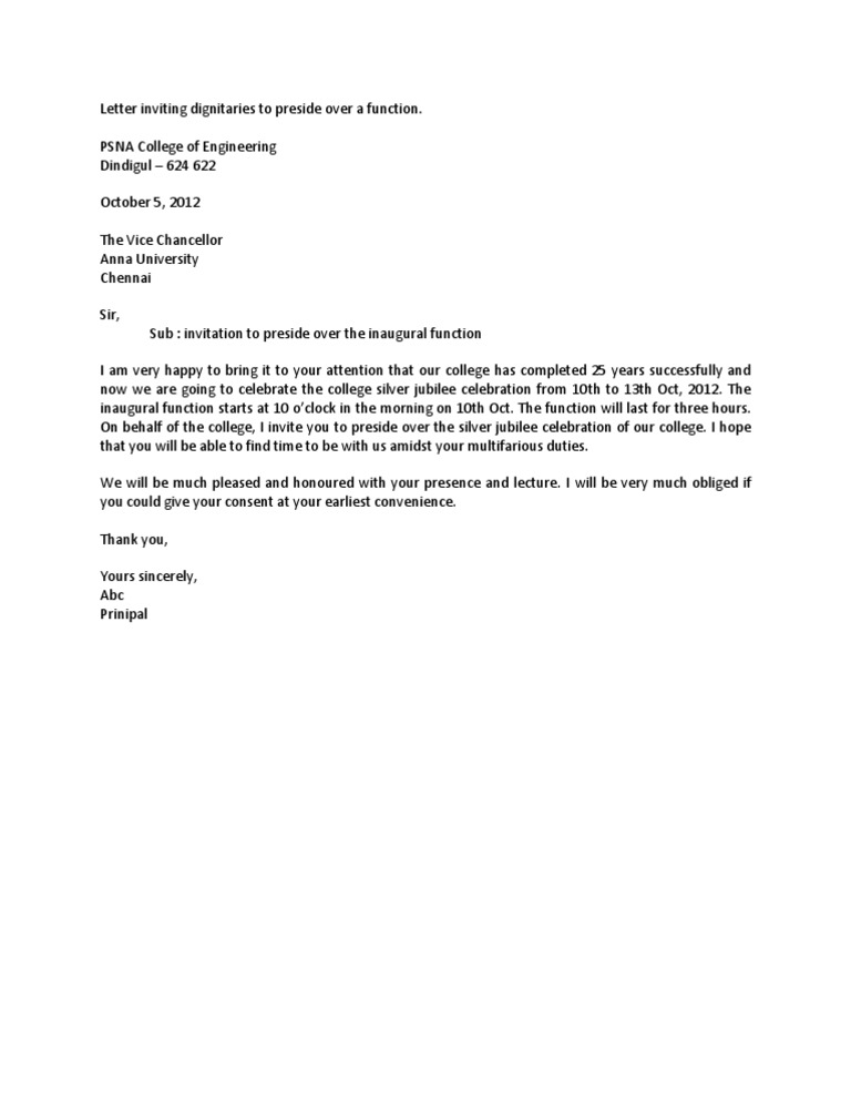 Letter Letter Inviting Dignitaries To Preside Over A Function