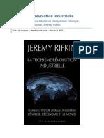 La Troisième Révolution Industrielle - Jeremy Rifkin - Fiche de lecture