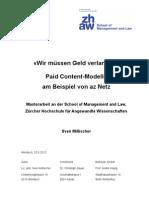 Paid Content-Modelle am Beispiel von az Netz