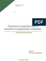 Promovarea competiției pentru dezvoltarea profesională a studenților