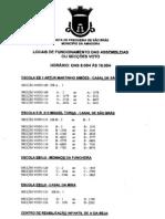 Locais de funcionamento das Secções de Voto da Freguesia de São Brás