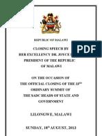 President Joyce Banda's Closing Statement for the 2013 Sadc Summit