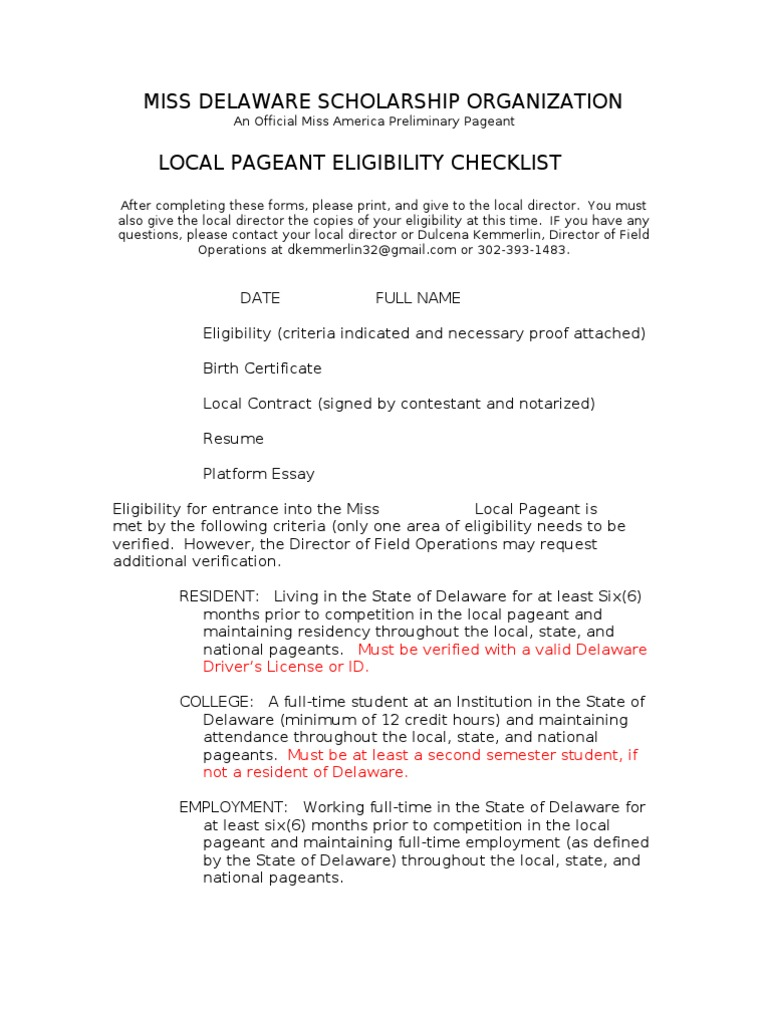 1 Ac2014 Local Pageant Eligibility Documentation Forms Drivers
