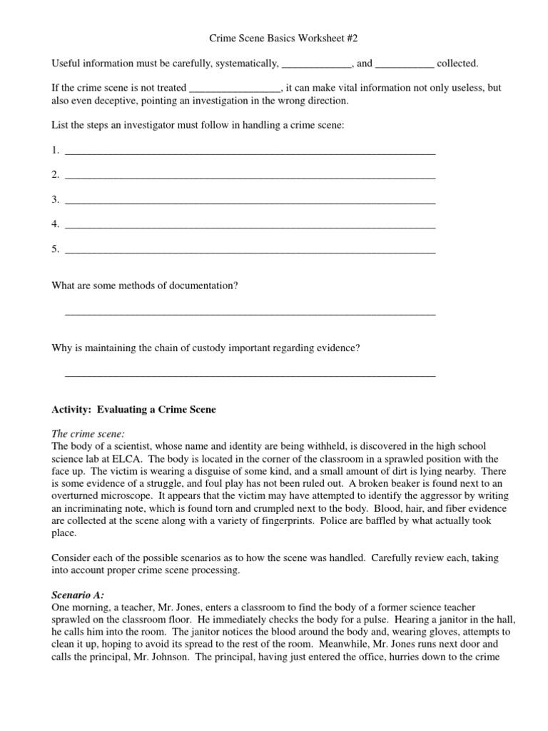 Crimescene Basics Worksheet 2 Crime Scene