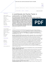 A contribuição de Charles Taylor à autonomia na Modernidade _ Revista IHU Online #220