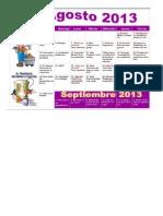 Charlas y Calendario de Agosto