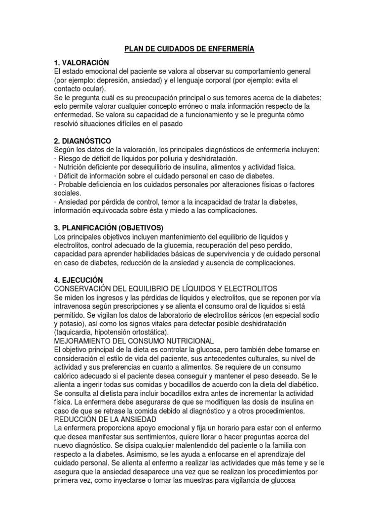 ejemplos de planes de atención de enfermería para diabetes mellitus