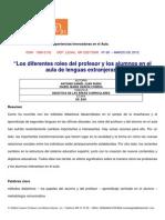 Roles Del Profesor y Los Alumnos en El Aula de Lenguas Extranjeras