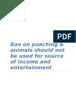 Ban on Animal Poaching