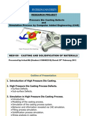 High Pressure Die Casting Defects and Simulation Process by Computer