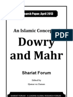 An Islamic Concept of Dowry & Mahr [Shariat Forum - Research Paper April 2013]