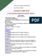 0 Plan du livre des Commentaires de l'évangile selon Saint Jean