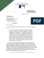 MLB letter to Joe Tacopina