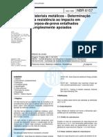 NBR 6157 - Materiais Metalicos - Determinacao Da Resistenci