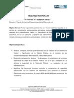 Plan de Estudios de Control de Gestión Pública