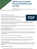 Beneficios de la tarjeta Mastercard-Movistar del banco Itaú