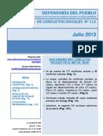 Reporte M. de Conflictos Sociales N 113 Julio 2013