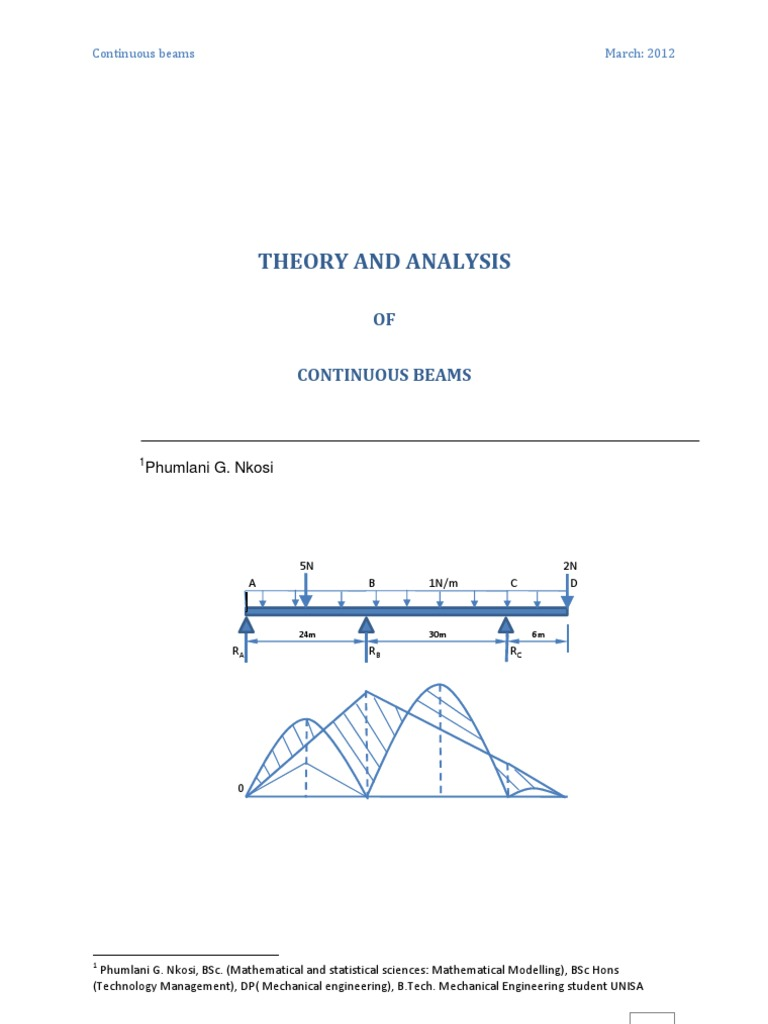 Theory And Analysis Of Continuous Beams Bending Beam Structure Moment Diagram Cantilever Uniform Distributed Load