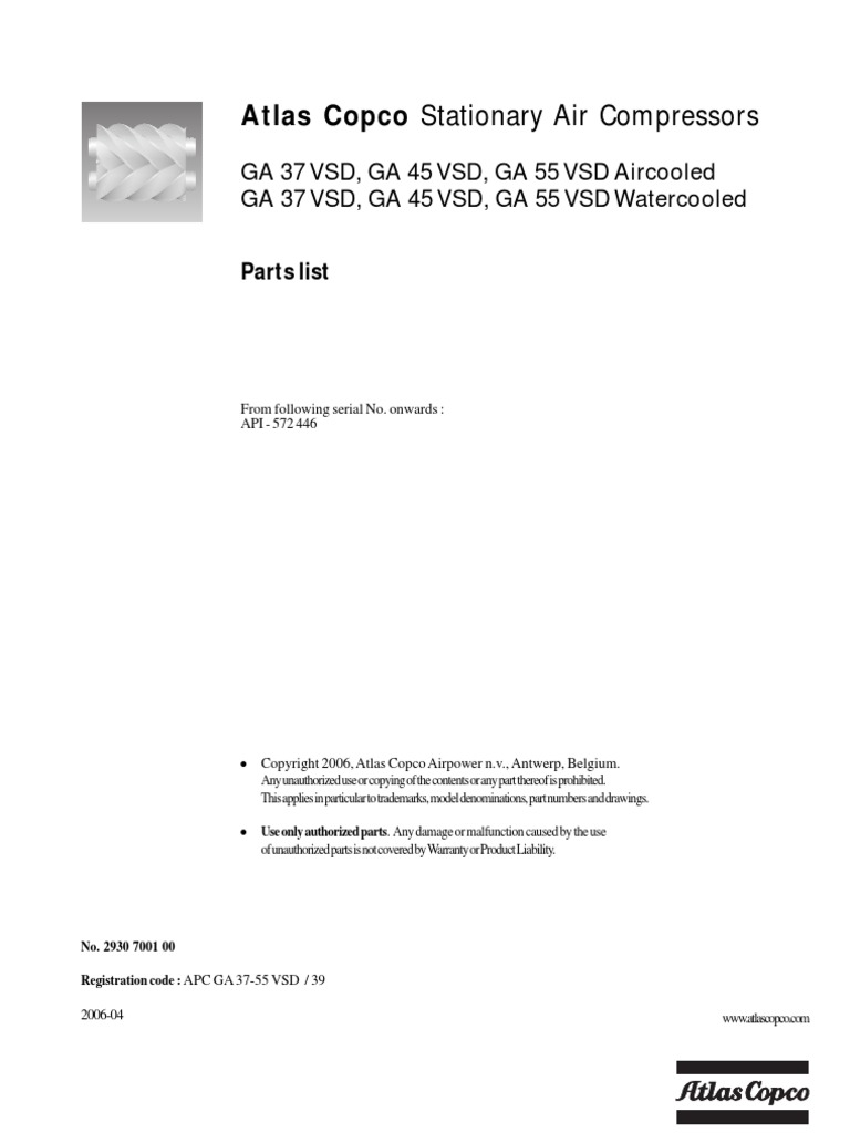 Atlas Copco Ga 37 Diagram Wire Data Schema Generator Wiring 45vsd Parts List Rh Es Scribd Com Generators Torque