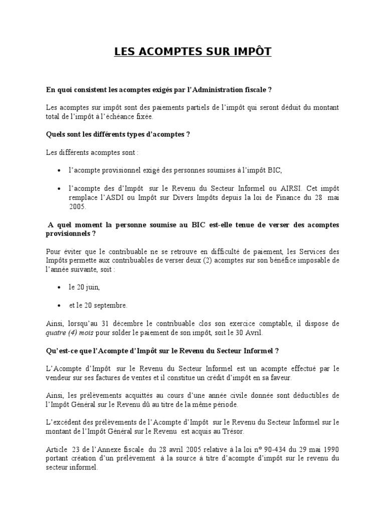 PROVISIONNEL TÉLÉCHARGER ACOMPTE