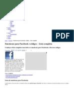Emoticons Facebook - Lista de emoticons e códigos para Facebook
