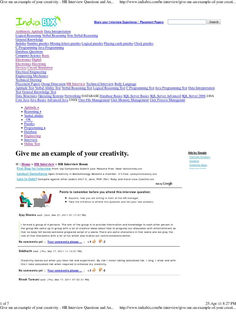 give me an example of your creativity hr interview questions give me an example of your creativity hr interview questions and answers pdf
