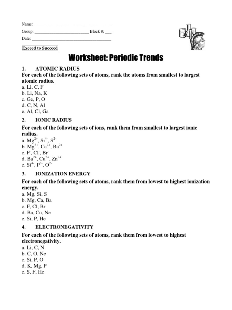 Worksheets Trends In The Periodic Table Worksheet Answers in class practice on periodic trends ws ion ionic bonding