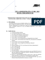 DIRECTIVA ADMINISTRATIVA N° 008- 2013 (LICENCIAS)