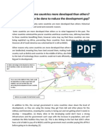 Why Are Some Countries More Developed Than Others? What can be done to reduce the development gap