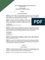 Ley Orgánica del Registro Nacional de Identificacion y Estado Civil (RENIEC)