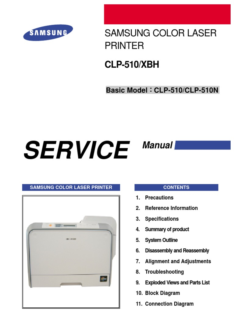 Samsung Color Laser Printer CLP 510 510N Parts and Service