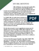Rescissione contratto società CERIN SRL Bitonto Riscossione Tributi