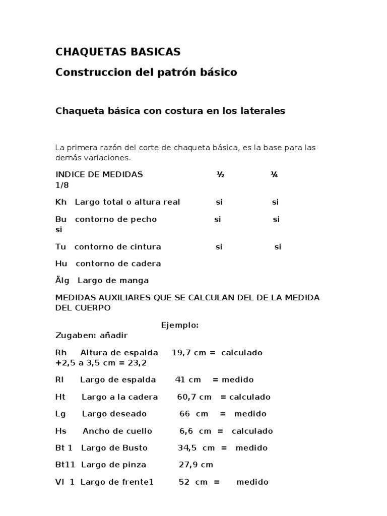 CHAQUETAS BASICAS sistema müller