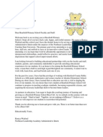 Ronica Watford Staff Introduction Letter