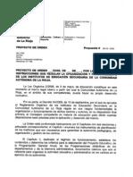 Proyecto sobre las instrucciones que regulan la organización y el funcionamiento de los IES