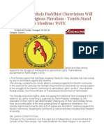 Sri Lanka's Sinhala Buddhist Chauvinism Will Not Allow Religious Pluralism Tamils Stand Solidarity With Muslims TGTE
