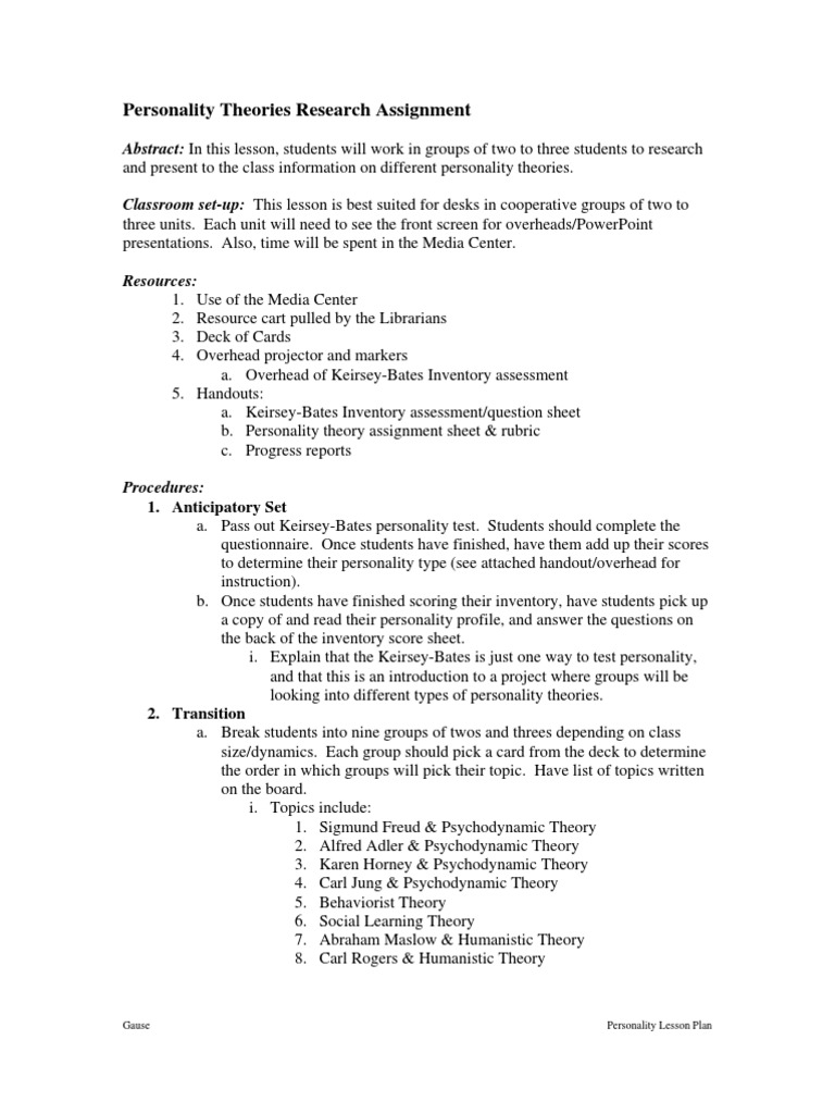 Personality (Keirsey- Bates Inventory) | Personality Psychology