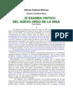 Breve Examen Critico Del Novus Ordo Missae OTTAVIANI