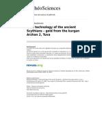 Archeosciences 2193 33 Gold Technology of the Ancient Scythians Gold From the Kurgan Arzhan 2 Tuva