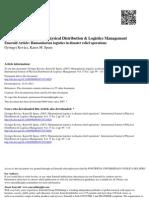 Tema 6 i CA Humanitarian Logistics