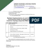 Hardware Implementation of a New Single-Phase Cycloconverter Based on Single-Phase Matrix Converter Topology Using Pulse Width Modulation