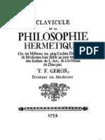 Clavicule de la Philosophie Hermétique 1753 NO1786