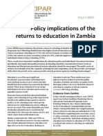 Policy Implications of the returns to education in Zambia