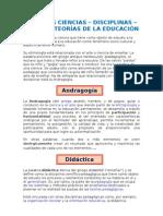ALGUNAS CIENCIAS, DISCIPLINAS, RAMAS Y TEORÍAS DE LA EDUCACIÓN